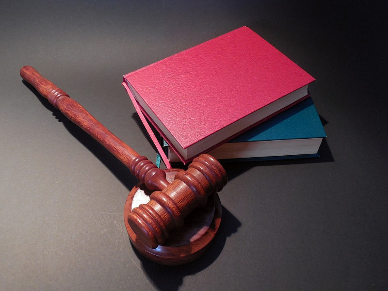 Auction gavel and books